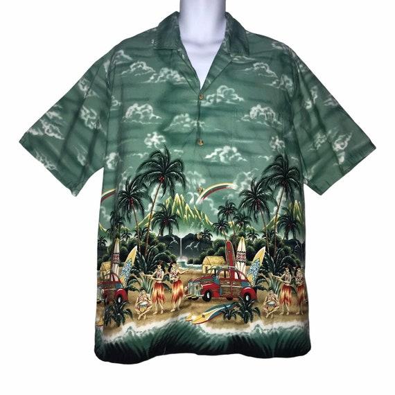 Palm Trees Tropical Scene Outrigger Canoes Made in Hawaii by Evergreen Island Size XL Vintage Blue Hawaiian Aloha Shirt with Windsurfers