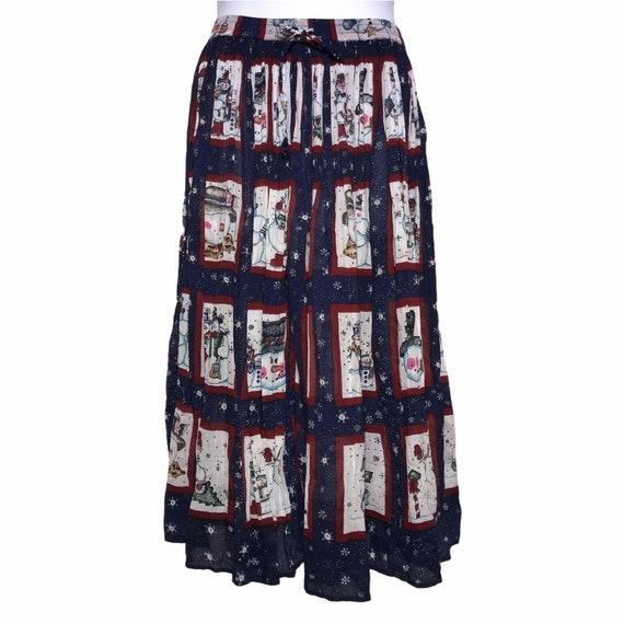 Phool Vintage Maxi Circular Christmas Skirt L