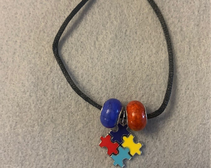 Autism Awareness Bracelet (Buyer chooses two colors for beads)