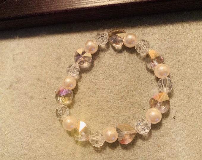 Light Pink Crystal Heart Bracelet
