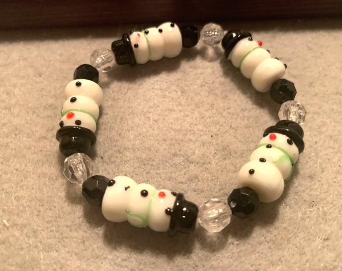 Snowman Beaded Bracelet Stretch
