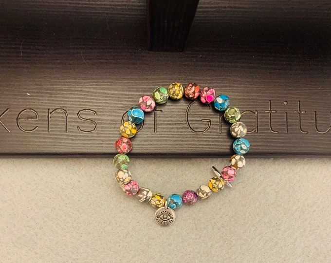 Beaded Stretch bracelet (multicolor) with Evil Eye Charms