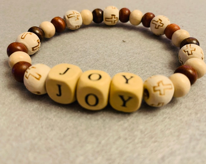 Joy Bracelet with wooden beads and wood cross beads (buyer can choose any name)