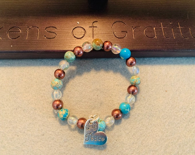 Peace Beaded Bracelet with earth themed beads