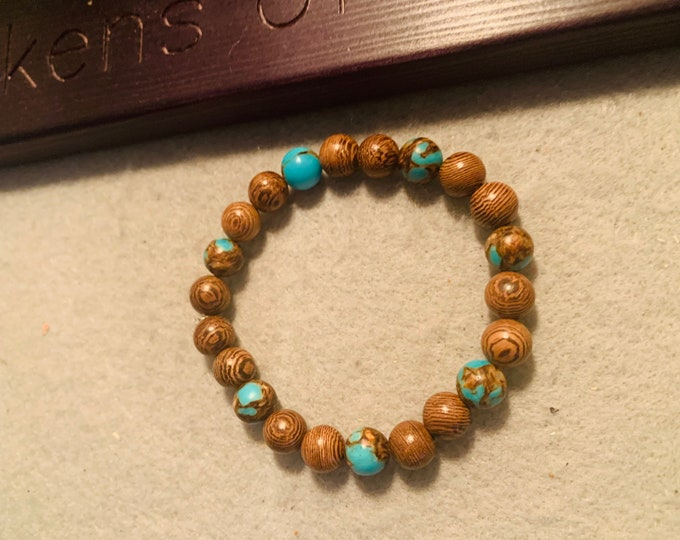 Brown and Turquoise color square beaded stretch bracelet