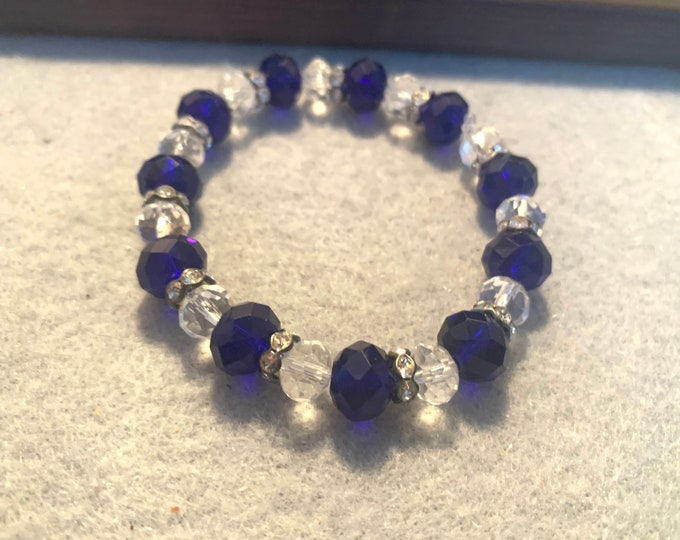Crystal blue and clear Beaded Stretch Bracelet