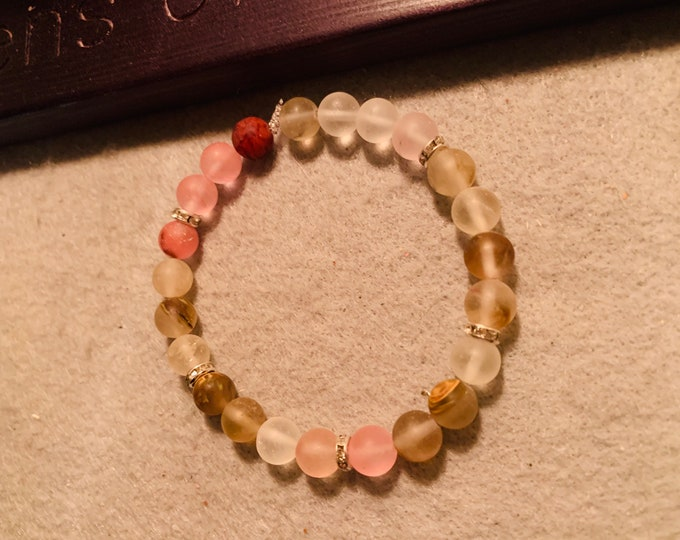 Cherry quartz beaded stretch bracelet