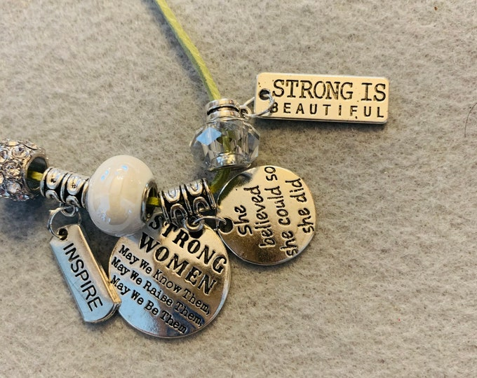 Girl Power/Strong is Beautiful Charm Bracelet