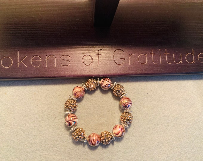 Beige and Brown beaded bracelet (large beads)
