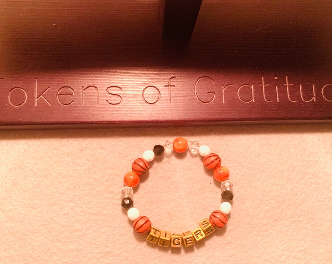 Customizable color/sport Basketball Tigers Beaded Bracelet (basketball is pictured). Other sports a available: football, soccer, baseball)