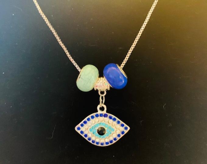 Evil Eye Rhinestone Charm Necklace