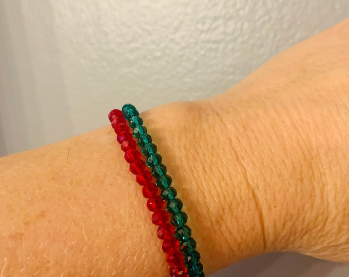 Holiday colored  (red and green) Beaded Stretch Bracelet Set of 2