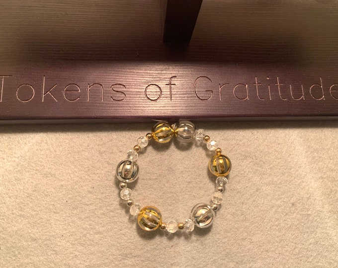 Silver and Gold Ornament Christmas/ Holiday Stretch Bracelet