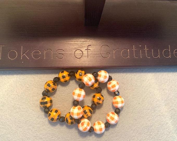 Halloween/ Fall Bracelet Set-Orange, White and Black Plaid beaded stretch bracelet set of 2