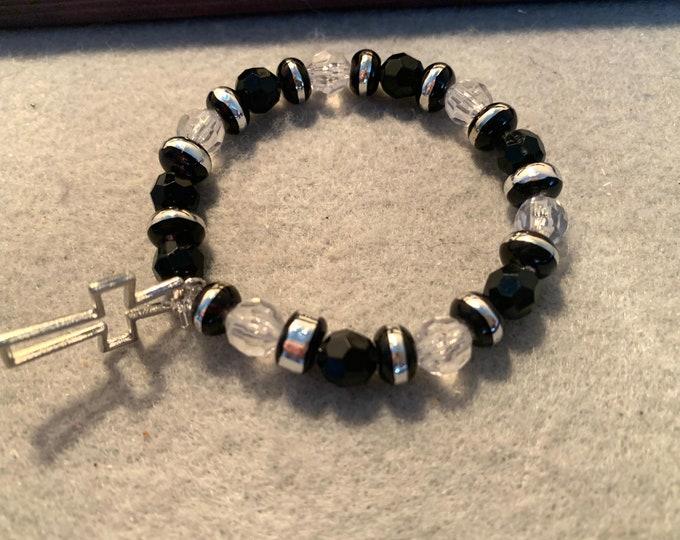 Black and Silver Cross Bracelet (beaded stretch bracelet)