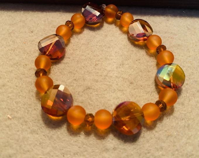 Sparkly Brown and orange beaded stretch bracelet