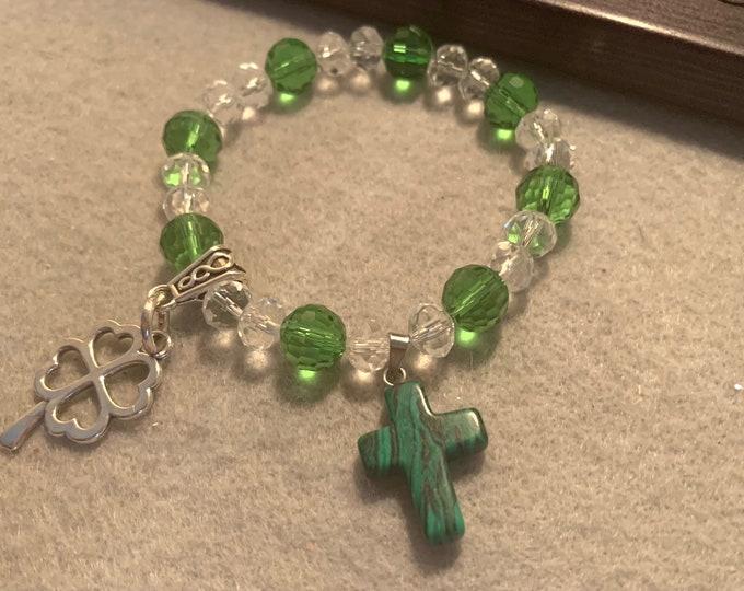 2 charms / Irish beaded stretch bracelet -St Patrick's Day Beaded Stretch Bracelet with green cross charm and clover charm