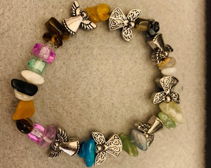 Angel Beaded Bracelet with multicolored stones