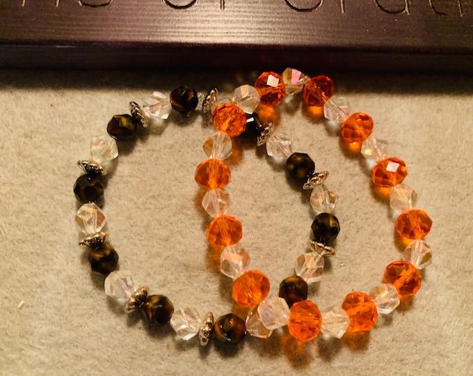 Sparkly brown and Orange   beaded stretch bracelet set (2)