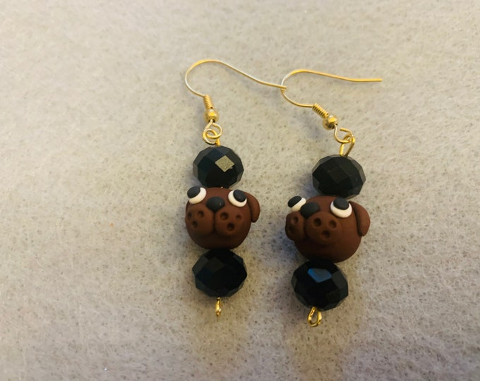 Brown Puppy Earrings (Hand-sculpted doggie beads)