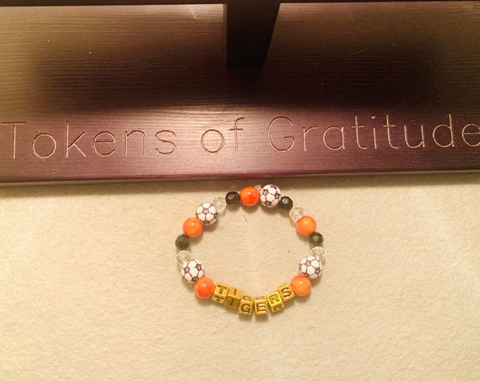 Tigers Beaded Bracelet (soccer pictured) customizable