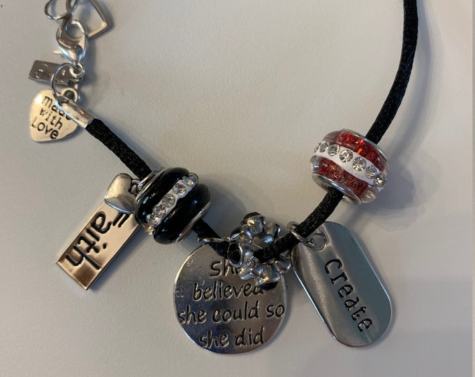 Girl Power Cord Bracelet With Charms (Buyer chooses 3 motivational phrases from picture and color scheme))