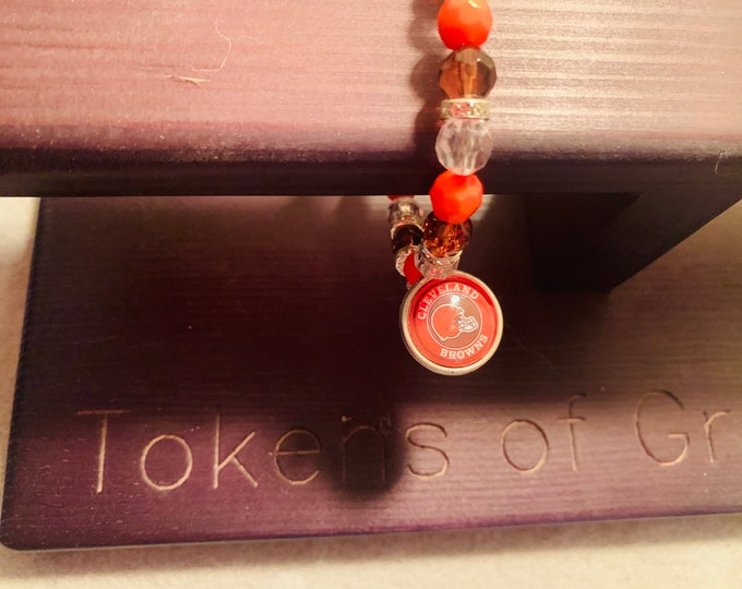 Orange & Brown Beaded Stretch Bracelet with Charm (pictured, buyer chooses charm from those pictured)