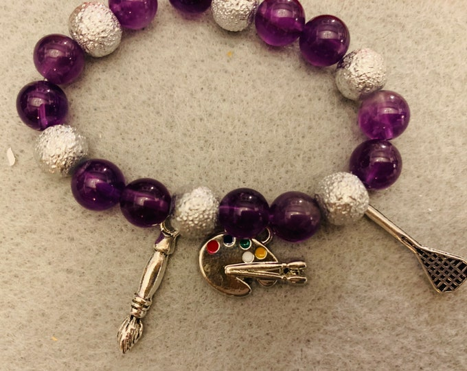 Hobby/ Sport Beaded Bracelet (lots of options for charms, and buyer chooses color scheme and up to 5 charms)