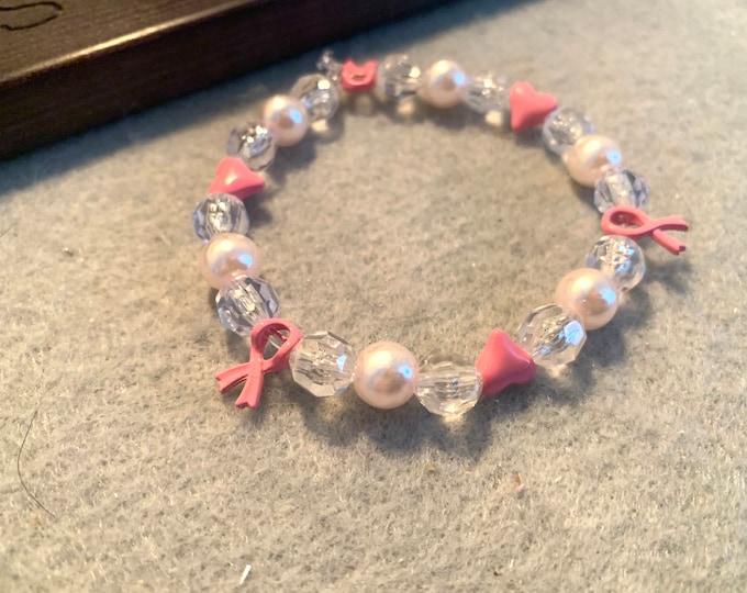 Breast Cancer Awareness Beaded Stretch Bracelet