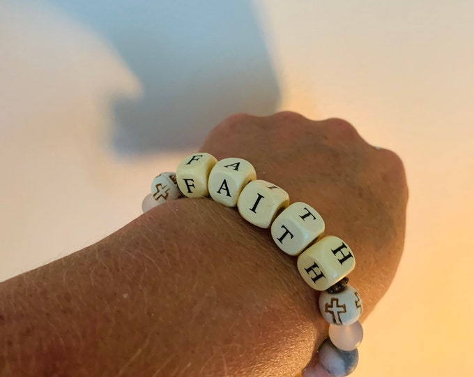 """Beige, Light Pink and Brown Personalized beaded bracelet (pictured- """"faith"""""""