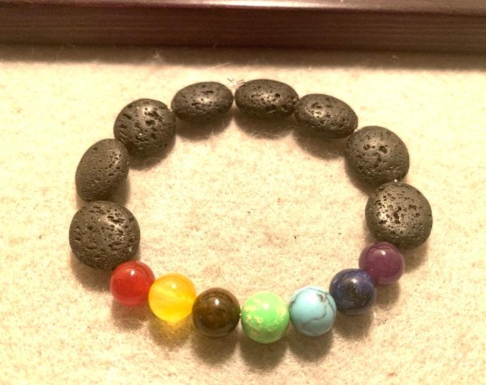Beaded Chakra Bracelet with oval shaped lava beads