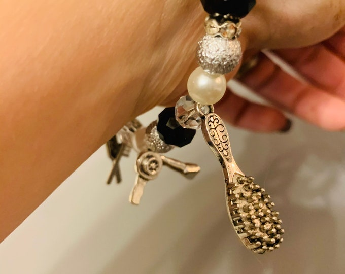 Hairdresser Themed Beaded Bracelet with charms