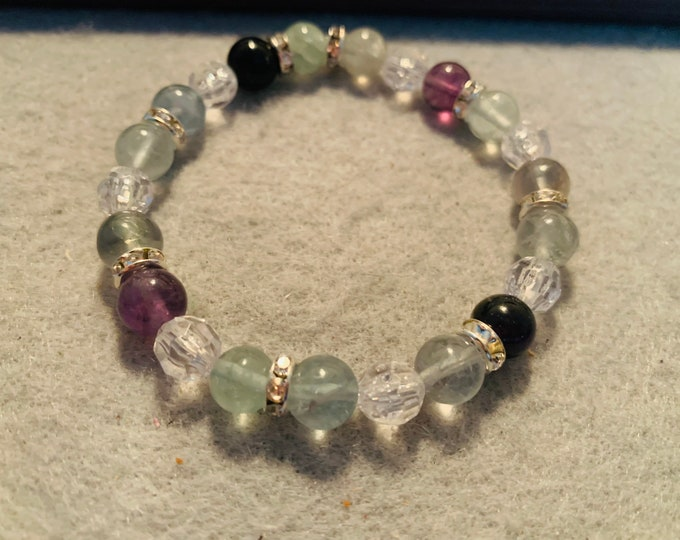 Purple and Green Fluorite stone beaded stretch bracelet