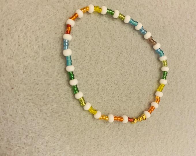 Pride Bracelet (subtle rainbow small beads)