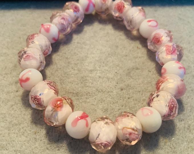 Pink Floral Breast Cancer Awareness Beaded Stretch Bracelet
