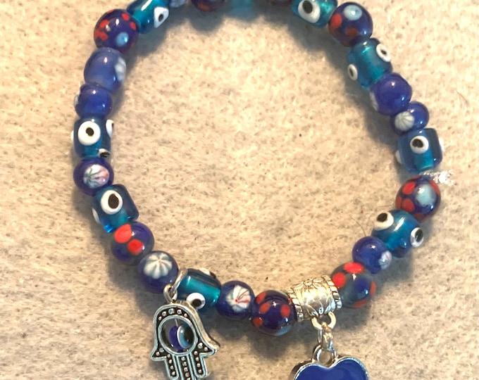 Beaded Stretch Evil Eye & Hamsa Bracelet with charms