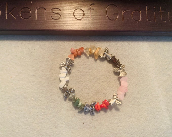Angel Beaded Bracelet with multicolored stones (color bands)