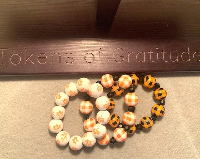 Halloween/ Fall Bracelet Set-Orange, White, Black  Plaid beaded stretch bracelet and fall leaves bracelet set of 3