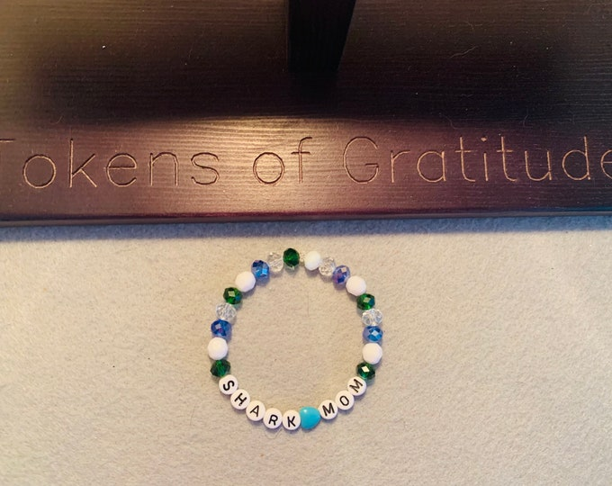 Customizable Blue, green, and white personalized beaded stretch bracelet