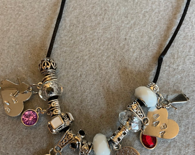 Mom necklace/ Charm Necklace for mom with child charms and birthstone charms