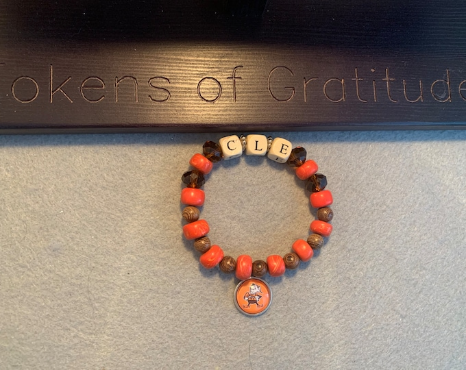 "Orange & Brown ""Cle"" beaded stretch bracelet with Elf Charm"