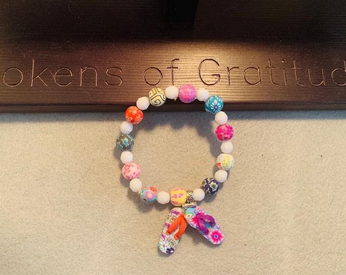 Summer Beaded Bracelet with flip flop charm