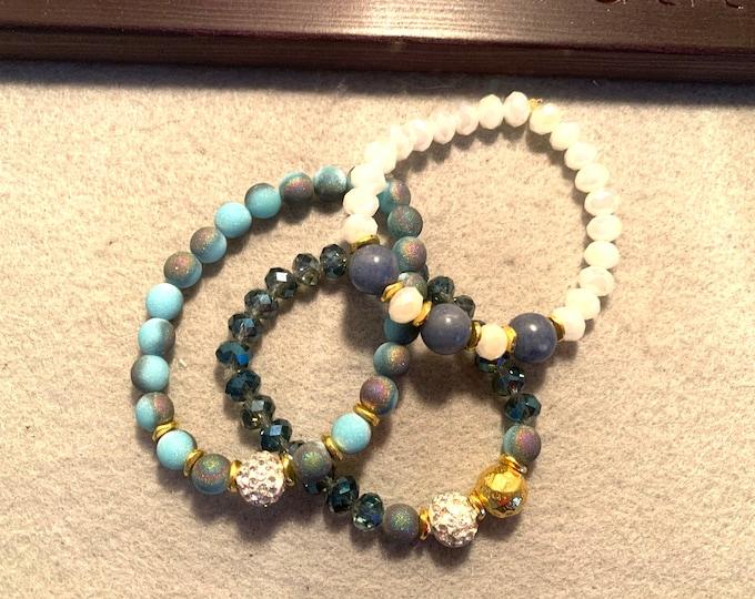 Set of three blue themed Beaded Stretch Bracelets