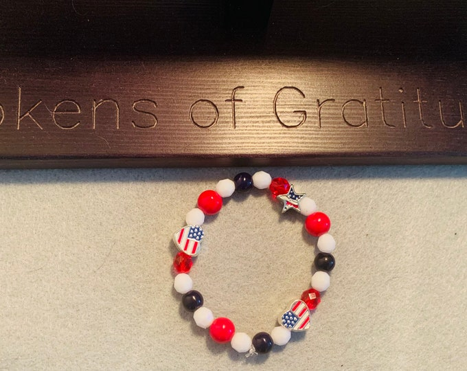 Fourth of July / Red White & Blue/ American Flag Beaded Stretch Bracelet