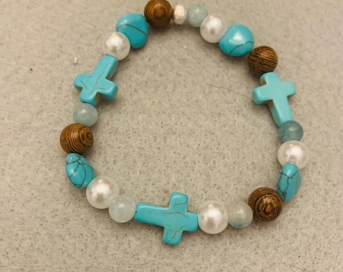 Turquoise Color Cross Bracelet