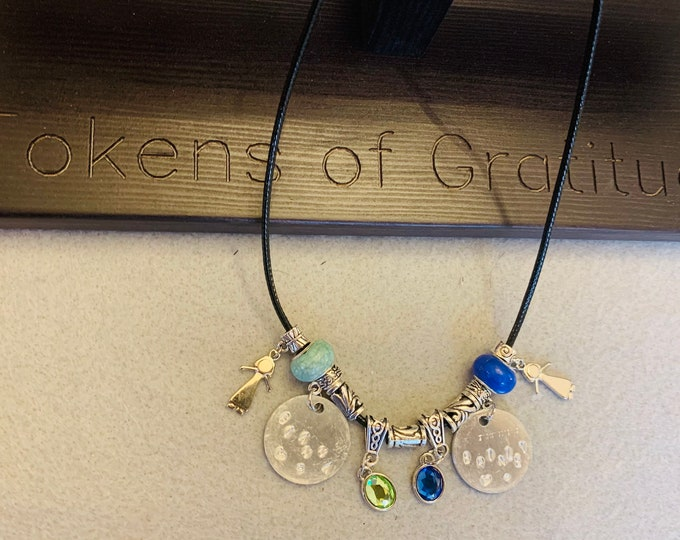 Personalized Birthstone Necklace with stamped charm