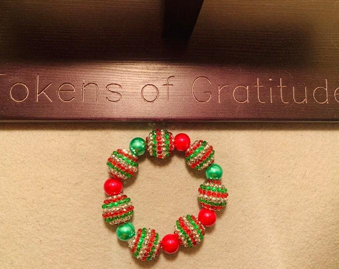 "Large Bead Holiday colored Beaded Stretch Bracelet (20"" rhinestone beads)"