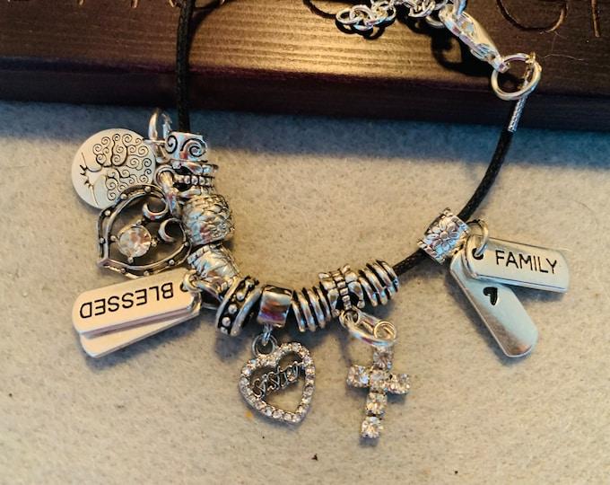 Sister/Family Charm Friendship Bracelet
