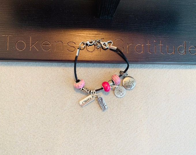 Family Charm Bracelet (sister is pictured) - customer chooses charms from those pictured