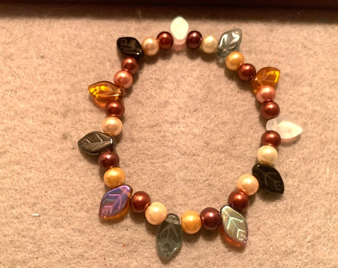 Fall Leaf beaded stretch bracelet in fall colors